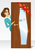 Woman behind the door Royalty Free Stock Images