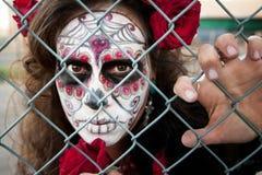 Woman Behind a Fence Stock Photos