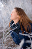 Woman behind frosty twigs Stock Image
