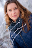 Woman behind frosty twigs Royalty Free Stock Image