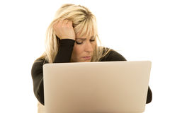 Woman behind laptop eyes closed Royalty Free Stock Photography