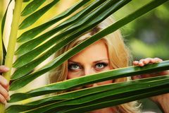 Woman behind the palm leaves Royalty Free Stock Photography