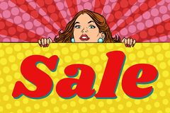Woman behind the sales poster stock illustration
