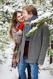 Woman behind shoulder smiling to man in winter forest Stock Photography