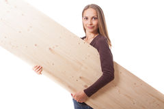 Woman behind a wooden board Stock Photography