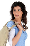Woman with a beige bag Stock Photo
