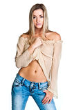 A woman in a beige blouse Royalty Free Stock Photography