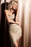 woman in beige clothes Royalty Free Stock Photo