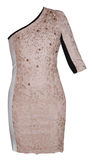 Woman beige event dress Stock Photo