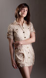 Woman in Beige Shirt Dress Royalty Free Stock Image