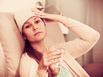 Woman being ill Royalty Free Stock Photos