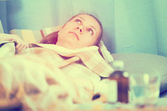 Woman being ill Royalty Free Stock Photography