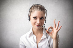 Woman being a telephone operator Royalty Free Stock Images
