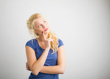 Woman being thoughtful royalty free stock image
