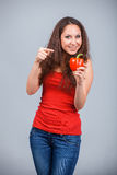 Woman with bell pepper Royalty Free Stock Photos