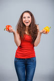 Woman with bell pepper Stock Image