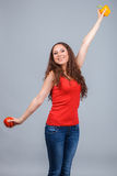 Woman with bell pepper Royalty Free Stock Photography