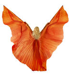 Woman in belly dance fabric dress as wings. Back side, white background stock photos