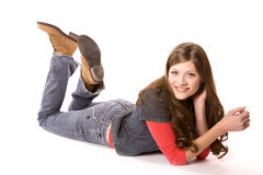 Woman on belly feet up Royalty Free Stock Photo
