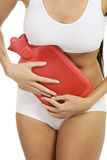 Woman belly with hot water bottle. Close up of woman belly with hot water bottle Royalty Free Stock Photography