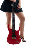 Woman below waist with electric guitar Royalty Free Stock Image