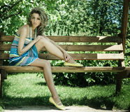 Woman on bench Royalty Free Stock Photo