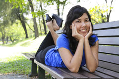 Woman on bench Stock Photos