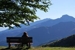 Woman on a bench Royalty Free Stock Image