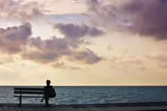 Woman Bench Sunset Stock Photos
