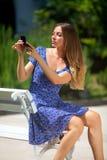 Woman on a bench Stock Photos