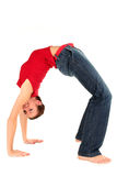 Woman bending over backwards. Side profile of a woman bending over backwards Stock Photos