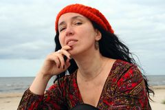 Woman in beret Stock Image