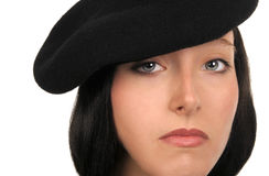 Woman In Beret. Nice Image of a Model In a Beret isolated Stock Photography