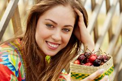 Woman with berries Royalty Free Stock Photos