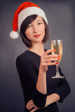Woman with beverage champagne Royalty Free Stock Image