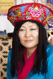 Woman from Bhutan. Santa Fe International Folk Art Market, Santa Fe, New Mexico, USA. woman from Bhutan in traditional costume Royalty Free Stock Photography