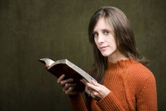 Woman with Bible Stock Images