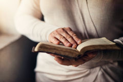 Woman with bible Royalty Free Stock Photos