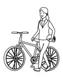 Woman with bicicle black and white. Woman with bicicle and helmet vector illustration graphic design stock illustration