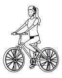 Woman with bicicle black and white. Woman with bicicle wearing helmet vector illustration graphic design royalty free illustration