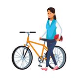 Woman with bicicle. And helmet vector illustration graphic design stock illustration