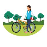 Woman with bicicle parkscape. Woman with bicicle and helmet parkscape vector illustration graphic design stock illustration