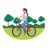 Woman with bicicle parkscape. Woman with bicicle wearing helmet parkscape vector illustration graphic design stock illustration