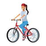 Woman with bicicle. Wearing helmet vector illustration graphic design royalty free illustration