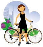 Woman with a bicycle. Royalty Free Stock Photos
