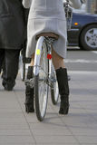 Woman with bicycle. Detail of a Japanese woman with bicycle in a city - useful lifestyle aspect from the Asian world Stock Images