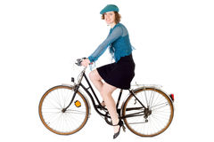 Woman on bicycle Stock Photos