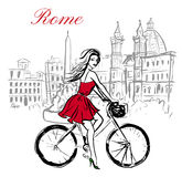 Woman on bicycle. Artistic hand drawn sketch of woman driving bicycle on street in Rome, Italy Royalty Free Stock Image