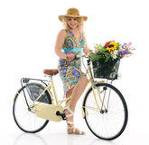Woman with bicycle Royalty Free Stock Image