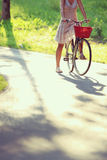 Woman on bicycle Royalty Free Stock Images